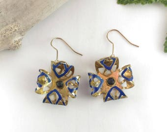 brass enamel earrings with zirconia cubic