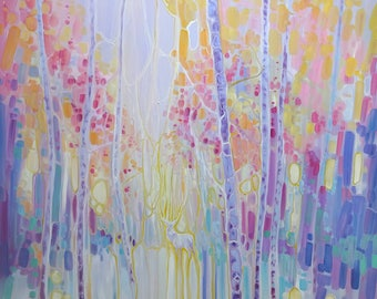 LARGE ORIGINAL Oil Painting - White Hart Symphony - an abstract landscape with deer