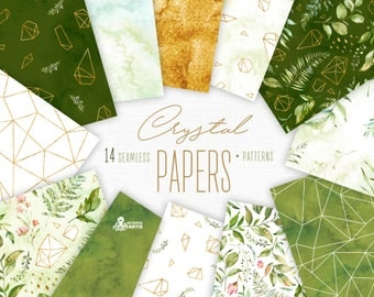 Crystal. 14 Seamless Patterns and digital Papers. Watercolor floral & polygonal clipart, leaves, gold, washes, backdrop, wild, wedding