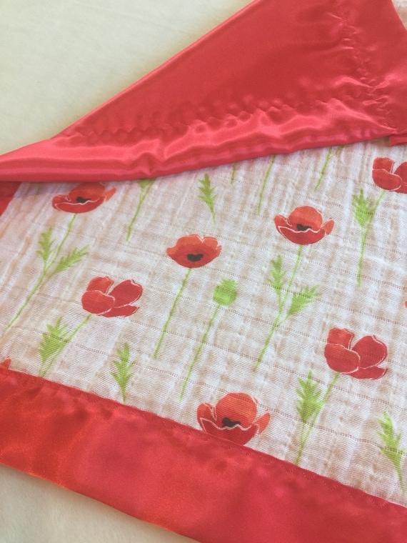 Double Gauze Red Poppys, Lovey, Baby Blanket, Silky Blanket, Breathable blanket, Satin Blanket, Baby Shower gift, Muslin swaddle 20x20