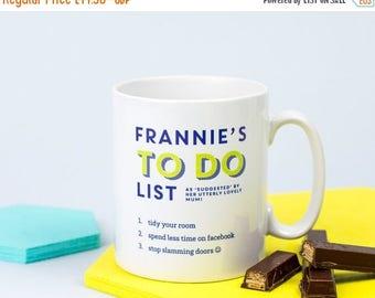 ON SALE To Do List Cup - To Do List Mug - Personalized Mug - Personalized Cup - Personalized Coffee Cup - Personalized To Do List - Daily Ag