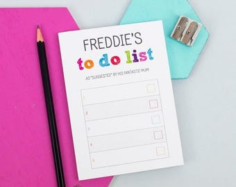ON SALE A6 Colourful To Do List Notepad - Personalised Notepad - Personalised Stationery - Note Card