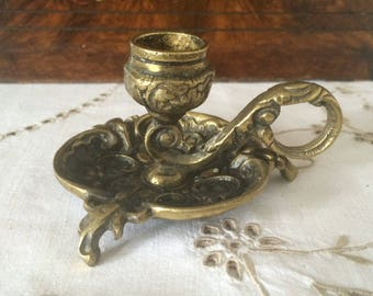 Vintage Brass Candleholder, Art Nouveau Style Candle Stick Holder/Chamber Candle.