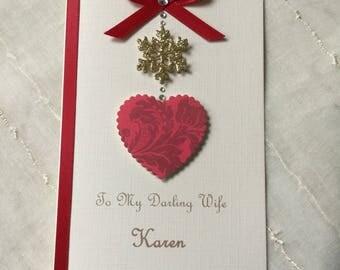 Personalised Handmade Christmas Card Wife Husband Girlfriend Boyfriend Fiancée Dad Mum Keepsake