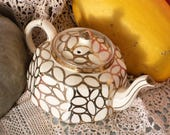 Octagonal Teapot Cream with Gold Ovoid Design - Mid Century Gibsons Staffordshire