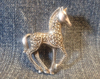 Beautiful Vintage Silver and Marcasite Horse Brooch