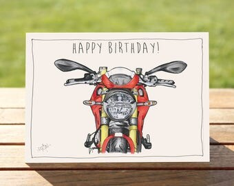 """Motorcycle Birthday Card - Red Cafe Racer portrait 