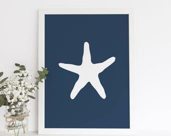 Navy Blue Art, Starfish Artwork, Navy Starfish Art, Ocean Wall Decor, Navy Beach Art, Coastal Life, Coastal Art Beach, Printable Wall Art