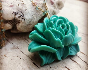Turquoise Rose Pendant Necklace