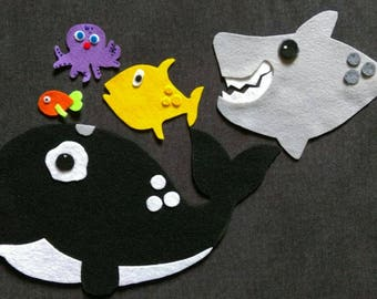 Slippery Fish Nesting Felt Set // Flannel Board Set // Preschool  // Colors // Creative Play // Imagination // Pretend Play // Ocean