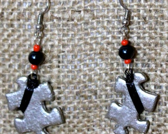 Silver and Black Puzzle Earrings