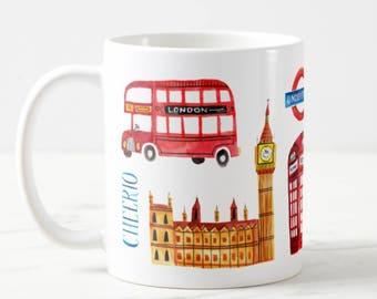 Coffee Mug London England Coffee Cup - London Mug - Big Ben - Red Phone Booth - Red London Bus