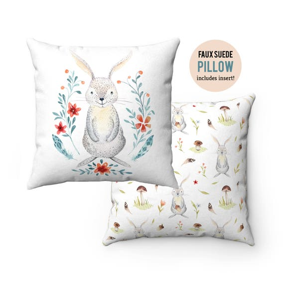 Pillow WITH INSERT - Cute Forest Bunny Rabbit Pillow with Filling - Faux Suede 14x14 Pillow, 16x16 Pillow, 18x18 Pillow, 20x20 Pillow