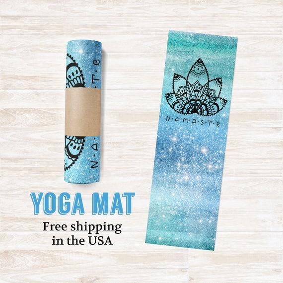 Yoga Mat Namaste Blue Green Galaxy - Free Shipping