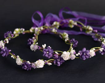 Dark Purple flower crown, Plum floral crown, Hair wreath Floral crown, Flower girl Boho crown, Plum Halo Violet floral crown Hippie Headband