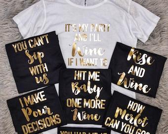 Bridal Shower Shirts, Wine Lover Phrases Tunic T-shirt // Bridal Shower Shirts, Bridal Shower, Bridal Shirts, Bride Shirts / 3011