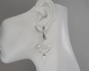 Sterling Silver Art Deco Earrings Art Deco Jewelry Made in Montana Fine Jewelry Gift for Women Bohemian Dangle Earrings Boho Earrings