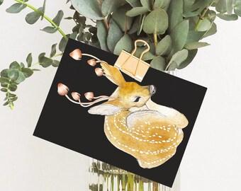 Postcard Greeting Card Oh Deer Fungi