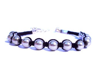Gray black macrame bracelet