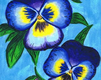 Pansies by Mary Bottom Original Ink and Gouache on Paper 6x9 Matted