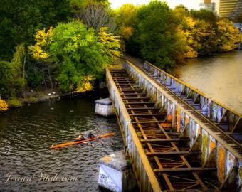 Head of the Charles Regatta, Charles River Regatta, Rowing Art, Boston University Bridge, CHOOSE PRINT or CANVAS