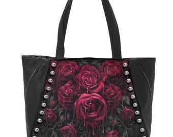 Tote Shopping Hand BAG Blood ROSE  Gothic Alternative  STUDDED