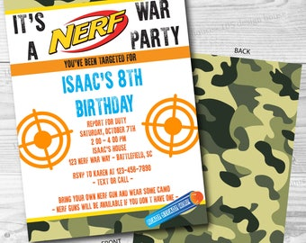 Nerf Invitation Front & Back Printable - Nerf Invite - Printable Nerf Party - Nerf Wars Party - Nerf War - Can be customized for any event