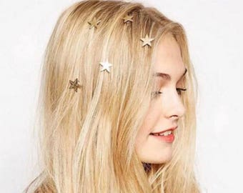 Gold star spiral hair clip wedding beach bride star hair studs hairstyle embellishments accessories lot of 4