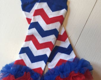 4th of July Leg warmers~ Red White and Blue Chevron with red white and blue ruffles~ baby leg warmers~