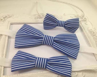"Set 4 ""Navy"" blue and white striped bow tie father and son, daughter mother barette bentrita"