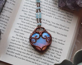 Heart Necklace, Heart Shaped, Aquamarine Necklace, Polymer Clay Pendant, Mermaid Necklace, Mermaid Jewelry, Opalite Necklace, Gifts For Her