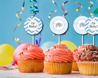 Cupcake Toppers, Oh Baby, Baby Shower, Decor, Buttons, Tags, Stickers, Blue, Elephant, Party Favors, Printable ,Instant Download T491B