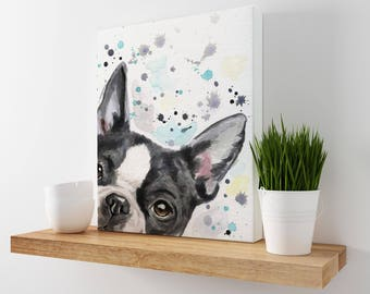Boston Terrier Art - Watercolor Dog Art - Boston Terrier Gifts - Dog Art Print - Boston Print - Boston Terrier Canvas - Dog Canvas