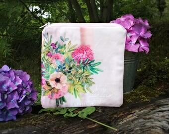 Porte-monnaie mariée, petite trousse plate maquillage, idée cadeau femme mariée, petite pochette voyage, porte-monnaie femme tissu fleurs