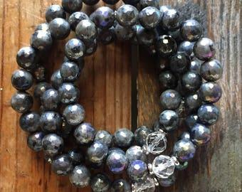 Unicorn Vibes | Stackable Spiritual Junkies Faceted Angel Aura Larvakite (Black Labradorite) + Quartz Crystal Yoga Mala Bracelet