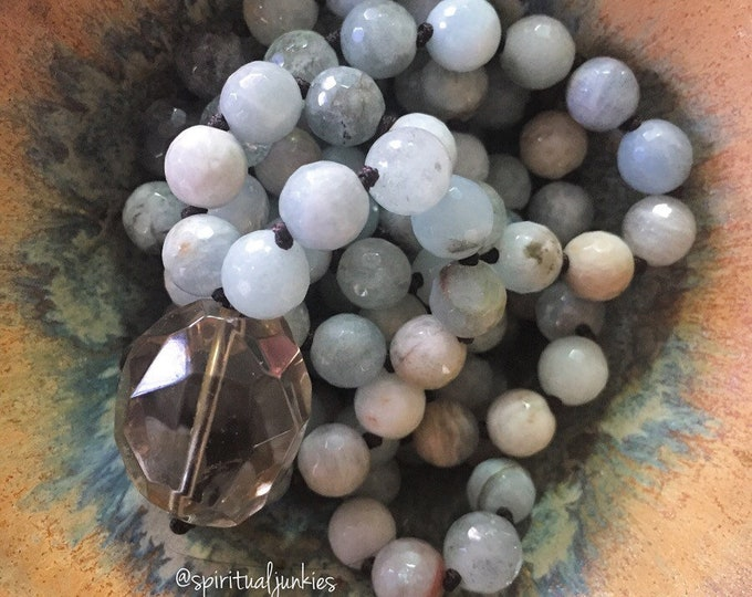 Aquamarine + Smoky Quartz Mala | 108 Bead | 8 mm | Handknotted | Spiritual Junkies |Yoga + Meditation | March Birthstone