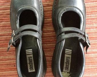 Black Platform Shoe,Black Leather Flat,Black Mary Jane,Skecher Platform,Black Skecher,Leather Skecher,Leather Platform,Size 10,Sz 10,