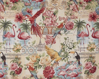 tropical fabric - parrot fabric - flamingo fabric - jacquard woven fabric - quilting fabric - upholstery fabric - floral fabric - TF-9003