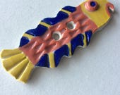 Big, bright & happy, collector's 3.25-inch, blue, coral pink peach and yellow fish button, one-of-a-kind, signed, handmade stoneware ceramic