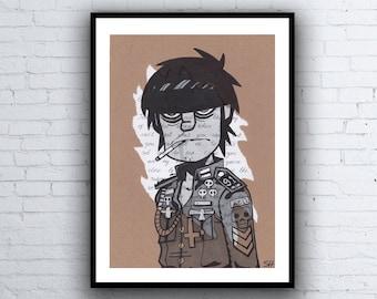 ORIGINAL Murdoc Gorillaz Drawing with Melancholy Hill Lyrics - A4 Size Art Signed