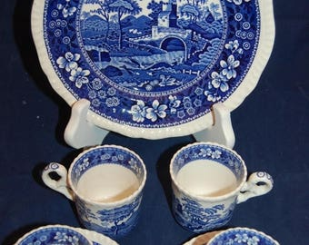 On Sale Pre 1970 Copeland Spode C1814 Gadroon Mark Blue Tower  Salad Plate & Demitasse Cups / Saucers  Made in England