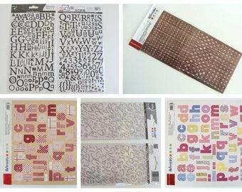 Stickers Alphabet chiffres Lettres Artemio Scrapbooking Carterie Home déco autocollant adhésifs