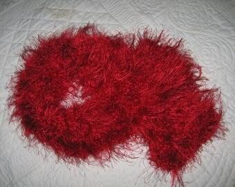 Red wool fancy fur scarf