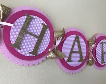 Hot Pink and gold Happy Birthday banner. Hot Pink and gold first birthday. Hot Pink and gold birthday party. Hot Pink birthday banner.