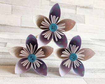 Pupple polka dot paper flowers, bouquet, floral arrangement, colourful, wedding center piece