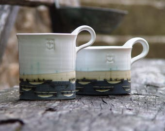 Stoneware Pottery Mug, Coffee Mug, Hand Painted Mug, Ocean Theme Mug, Boats Teacup, White and Blue Mug, Stoneware Mug, Ceramics and Pottery