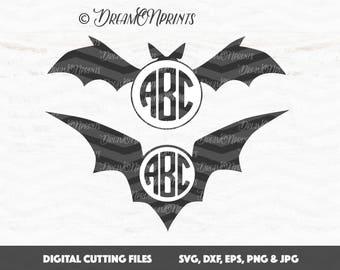 Witch Hat Svg, Halloween Monogram Svg, Circle Monogram Svg, Monogram Frame Cut Files, Halloween Svg, Bats Frames Cut Files SVDP357