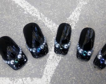 Glitter dipped siren mermaid dark square tip black gloss finish nails with glue included pearl and rhinestone nails by RazzleMyDazzleStudio