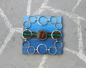 Handmade magnet one of a kind upcycled home decor - decorative fridge office magnet - boho shabby chic ombre design blue silver accent
