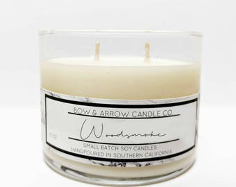 15 oz Natural Soy Candle Woodsmoke Scented | 15 oz Double Wick Candle | Soy Candle | Vegan Candle | Scented Candle | Gift Idea | Campfire